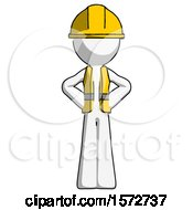 White Construction Worker Contractor Man Hands On Hips