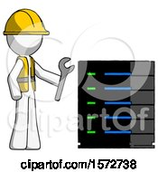 White Construction Worker Contractor Man Server Administrator Doing Repairs