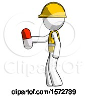 White Construction Worker Contractor Man Holding Red Pill Walking To Left