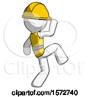 White Construction Worker Contractor Man Kick Pose Start