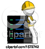 White Construction Worker Contractor Man Resting Against Server Rack Viewed At Angle