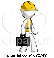 White Construction Worker Contractor Man Walking With Briefcase To The Right