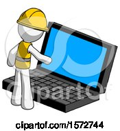 White Construction Worker Contractor Man Using Large Laptop Computer