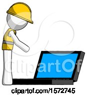 White Construction Worker Contractor Man Using Large Laptop Computer Side Orthographic View