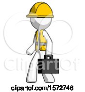 White Construction Worker Contractor Man Walking With Briefcase To The Left