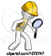 White Construction Worker Contractor Man Inspecting With Large Magnifying Glass Right