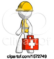 White Construction Worker Contractor Man Walking With Medical Aid Briefcase To Left