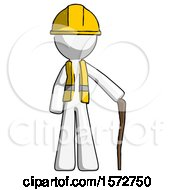 White Construction Worker Contractor Man Standing With Hiking Stick