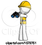 White Construction Worker Contractor Man Holding Binoculars Ready To Look Left