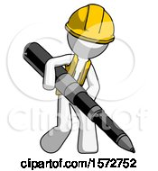 White Construction Worker Contractor Man Writing With A Really Big Pen