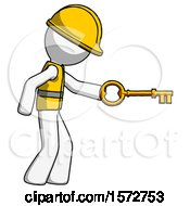 White Construction Worker Contractor Man With Big Key Of Gold Opening Something