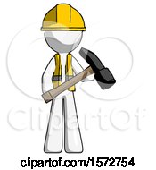 White Construction Worker Contractor Man Holding Hammer Ready To Work