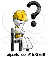 White Construction Worker Contractor Man Question Mark Concept Sitting On Chair Thinking