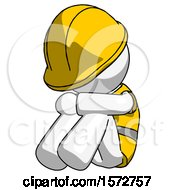 White Construction Worker Contractor Man Sitting With Head Down Facing Angle Left
