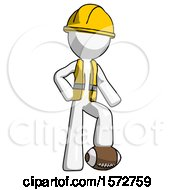 White Construction Worker Contractor Man Standing With Foot On Football