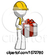 White Construction Worker Contractor Man Giving A Present
