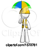 White Construction Worker Contractor Man Holding Umbrella Rainbow Colored