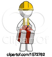 White Construction Worker Contractor Man Gifting Present With Large Bow Front View