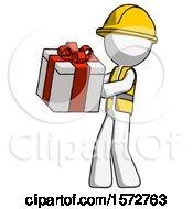 White Construction Worker Contractor Man Presenting A Present With Large Red Bow On It