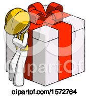 White Construction Worker Contractor Man Leaning On Gift With Red Bow Angle View