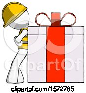 White Construction Worker Contractor Man Gift Concept Leaning Against Large Present