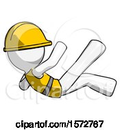 White Construction Worker Contractor Man Falling Backwards