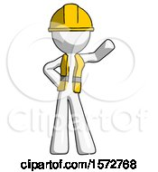 White Construction Worker Contractor Man Waving Left Arm With Hand On Hip