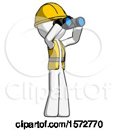 White Construction Worker Contractor Man Looking Through Binoculars To The Right
