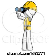 White Construction Worker Contractor Man Looking Through Binoculars To The Left