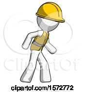 White Construction Worker Contractor Man Suspense Action Pose Facing Right