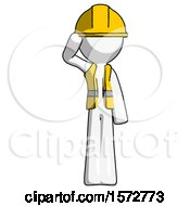 White Construction Worker Contractor Man Soldier Salute Pose