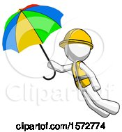 White Construction Worker Contractor Man Flying With Rainbow Colored Umbrella
