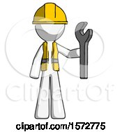 White Construction Worker Contractor Man Holding Wrench Ready To Repair Or Work