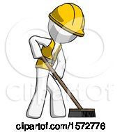 White Construction Worker Contractor Man Cleaning Services Janitor Sweeping Side View