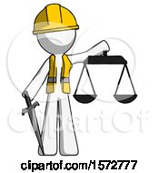 White Construction Worker Contractor Man Justice Concept With Scales And Sword Justicia Derived