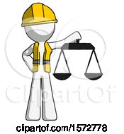 White Construction Worker Contractor Man Holding Scales Of Justice