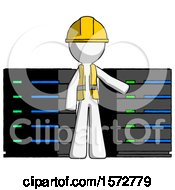 White Construction Worker Contractor Man With Server Racks In Front Of Two Networked Systems