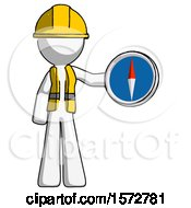 White Construction Worker Contractor Man Holding A Large Compass