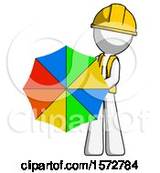White Construction Worker Contractor Man Holding Rainbow Umbrella Out To Viewer