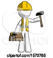 White Construction Worker Contractor Man Holding Tools And Toolchest Ready To Work