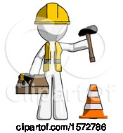 White Construction Worker Contractor Man Under Construction Concept Traffic Cone And Tools