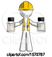 White Construction Worker Contractor Man Holding Two Medicine Bottles
