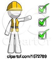 White Construction Worker Contractor Man Standing By List Of Checkmarks