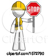 White Construction Worker Contractor Man Holding Stop Sign