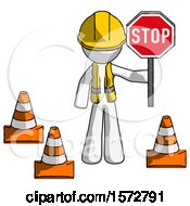 White Construction Worker Contractor Man Holding Stop Sign By Traffic Cones Under Construction Concept