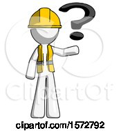 White Construction Worker Contractor Man Holding Question Mark To Right