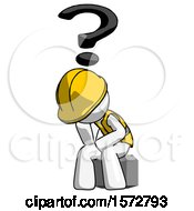 White Construction Worker Contractor Man Thinker Question Mark Concept