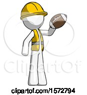 White Construction Worker Contractor Man Holding Football Up