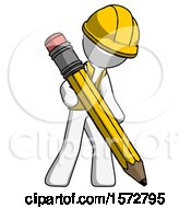 White Construction Worker Contractor Man Writing With Large Pencil