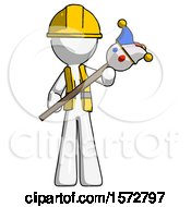 White Construction Worker Contractor Man Holding Jester Diagonally